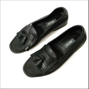 Bally Black Leather Moccasins Shoes 8M